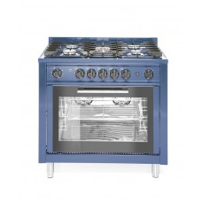 Купить 229194 Плита гзовая 5-ти конфорочная Kitchen Line с конвекционной электрической духовкой и грилем, цвет корпуса синий Hendi (Хенди)