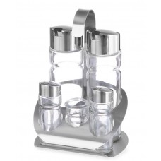 465363 Набор для специй из 5 частей (соль, перец, уксус, оливковое масло, зубочистки) Hendi