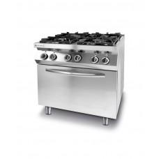225882 Плита газовая 4-х конфорочная Kitchen Line с электрическим конвекционным жарочным шкафом GN 1/1 Hendi