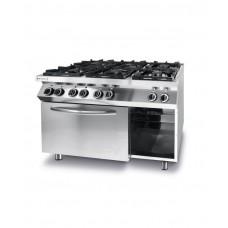 225899 Плита газовая 6-ти конфорочная Kitchen Line с электрическим конвекционным жарочным шкафом GN 1/1 Hendi