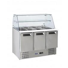 236192 Hendi (Хенди) 3-дверный стол для охлаждения салата со стеклянной надставкой