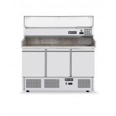 232033 Стол холодильный для пиццы с надставкой и гранитной столешницей, 3-дверный Hendi