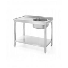 811870 Стол с правой моечной ванной и полкой для самостоятельной сборки 1000x600x850 мм Hendi