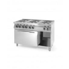 226247 Плита электрическая 6-ти конфорочная Kitchen Line с электрическим конвекционным жарочным шкафом GN 1 Hendi